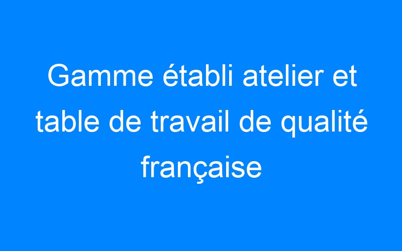 Gamme établi atelier et table de travail de qualité française